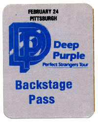 deep purple backstage pass 1985